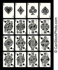 Cráneo jugando cartas en blanco y negro