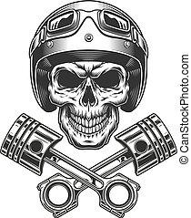 cráneo, moto, motocicleta, vendimia, casco