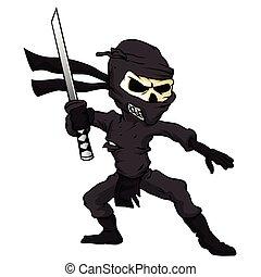 cráneo, ninja, cartoon.