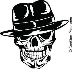 cráneo, sombrero, gángster