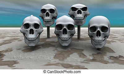 cráneos, fila