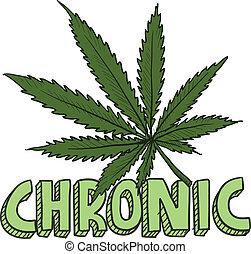crónico, bosquejo, marijuana