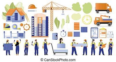 crane., vector, edificio, conjunto, materiales, diseño, theme., máquinas, ilustraciones, grande, casas, construcción, constructores, tema