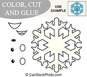 Crea la imagen de copo de nieve y color. Juego de papel para niños. Ilustración de vectores.