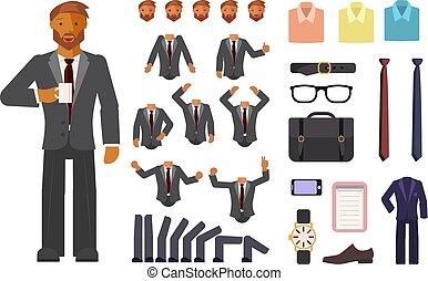 Creación de carácter de hombre de negocios