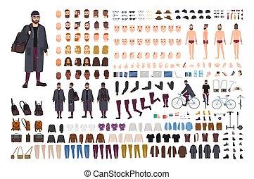 Creación de hipsters barbudos o kit de DIY. Colección de caricaturas planas partes del cuerpo, ropa de moda, accesorios aislados en el fondo blanco. Frente, lado, atrás. Ilustración de vectores.