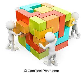 crear, edificio, personas., concepto, 3d, blanco