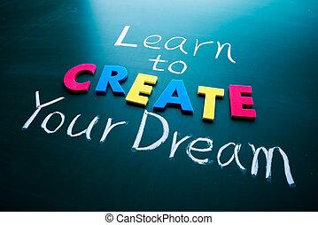 crear, sueño, su, aprender
