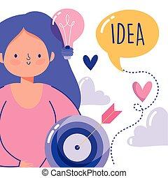 creatividad, niña, gente, blanco, estrategia, tecnología, caricatura, idea, flecha