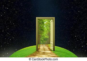 creatividad, puerta, abierto, tierra, imaginación