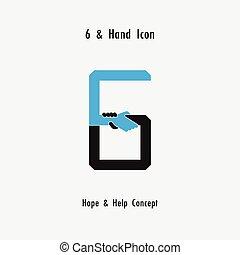 Creativo 6- Número icono abstracto y manos vector de diseño de iconos.