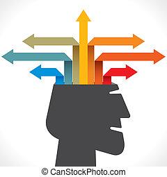 creativo, afuera, o, flecha, info-graphics