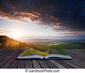 Creativo concepto de paisaje de verano en páginas de libro