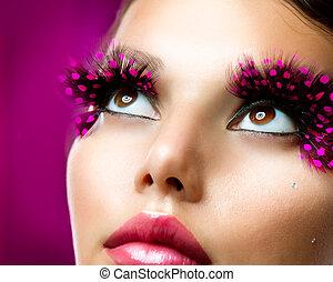 creativo, makeup., pestañas falsas