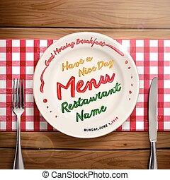 creativo, menú, restaurante, diseño