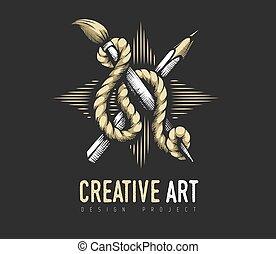 creativo, rope., emblema, heráldico, lápiz, concept., cepillo, arte
