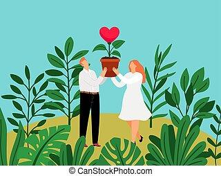 crecer, mujer, concepto, crecimiento, monstera, encantador, valentines, love., hombre, tropical, hojas, relación, trabajando, crecer, corazón, maceta