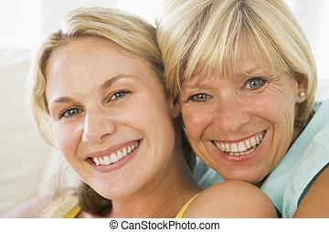 crecido, sonriente, hija, arriba, madre