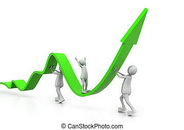 Creciendo gráficos de negocios con la gente
