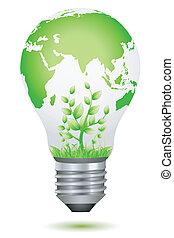 Creciendo plantas dentro de la bombilla global