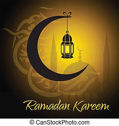 Creciente y linterna para iluminar el santo mes musulmán de la comunidad Ramadan Kareem.