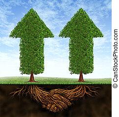 Crecimiento de asociación de negocios