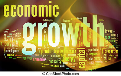 Crecimiento económico. Palabras coloridas.