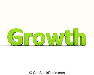 crecimiento, palabra, 3d