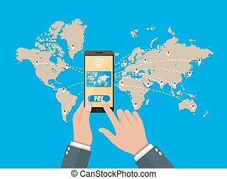 credit., elegante, teléfono móvil, pagos