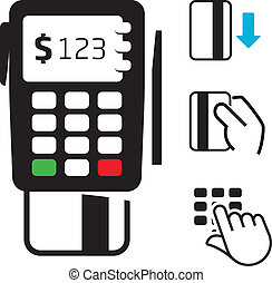 credito, pos-terminal, tarjeta, iconos