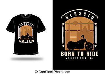 crema, harley, paseo, color, camiseta, clásico, nacido, california