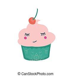cremoso, sonriente, cereza, lindo, cima, aislado, vector, blanco, fondo., confitura, dessert., plano, baya, character., divertido, caricatura, fruta, illustration., pastel, cupcake, condimentado, dulce