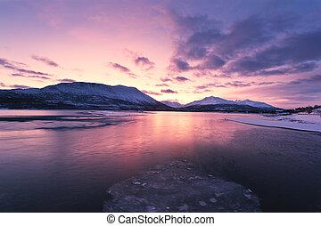 crepúsculo, ford, colores, sobre, beautifully, noruega