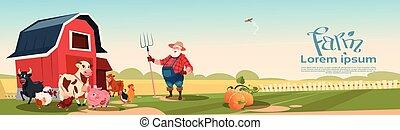 crianza, tierras labrantío, animales, plano de fondo, granjero