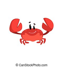 Criatura de cangrejo alegre con garras levantadas, linda criatura marina con vectores graciosos en la cara de un fondo blanco