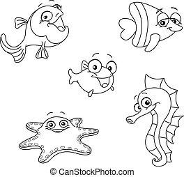 Criaturas marinas delineadas