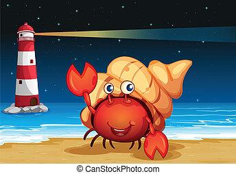 Criaturas marinas en la playa con un faro