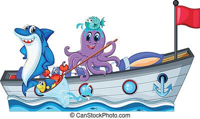 Criaturas marinas en un barco con bandera