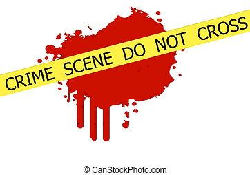 crimen, cruz, no, escena