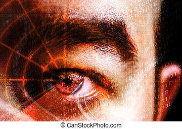 crimen, ojo, cyber