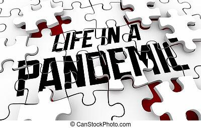 crisis, 3d, pandemia, vida, salud, cómo, sobrevivir, cuidado, emergencia, ilustración