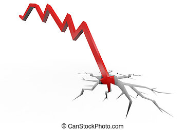 crisis., financiero, rotura, depresión, floor., rojo, fracaso, dinero, desplome, flecha, concepto, quiebra
