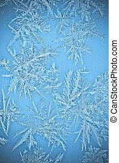 Cristales de hielo natural en las ventanas