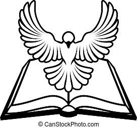 cristiano, concepto, paloma, biblia