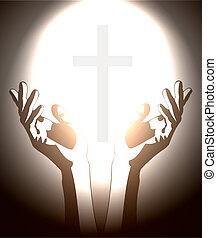 cristiano, silueta, cruz, mano