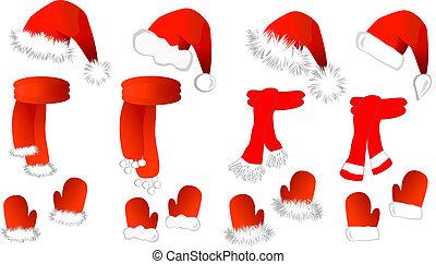 cristmas, bufanda, claus, santa sombrero, manoplas, set: