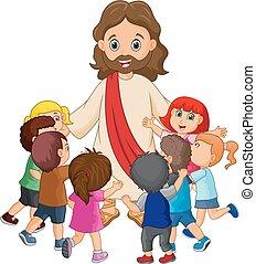 cristo, ser, rodeado, niños, jesús, caricatura