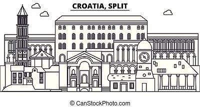 Croacia, línea dividida de la ilustración vectorial vectorial. Croacia, paisaje lineal dividido con puntos de referencia famosos, vistas de la ciudad, paisaje vectorial.
