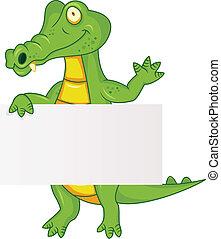 Crocodile con signo en blanco