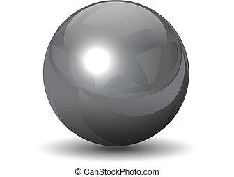cromo, esfera, vector, metálico